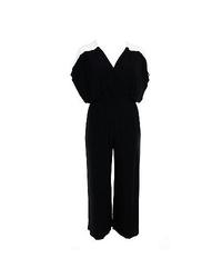 Sangria Women's Colorblock Wide Leg Faux Wrap Jumpsuit - Black - Size: 16