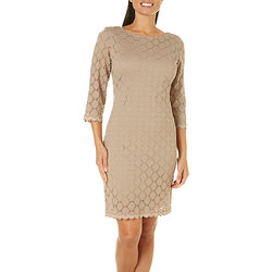 Ronni Nicole Women's Circle Lace Zip Back Dress - Tan/Beige - Size: 10