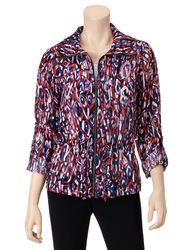 Ruby Rd. Women's Red & Blue Burnout Jacket - Multi - Size: 6