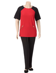 Madison Leigh Women's 2-Pc Textured Block Pants Set -Blk/Red -Sz:Plus-size