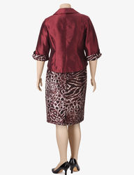 Dana Kay Women's 2-Pc. Shantung Animal Print Jacket Skirt Set - Burgundy