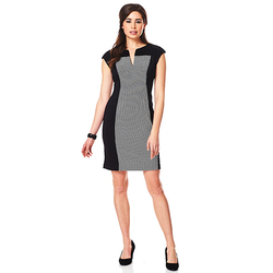 Connected Apparel Women's Dot Panel Dress - Black - Size: 24W