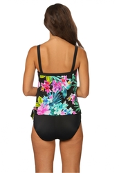 Women's 1-Pc Waikiki Tropical Faux Tankini Swimsuit - Black - Size: 10
