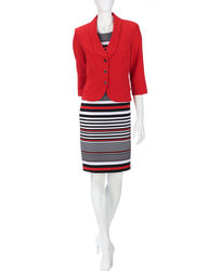 Danny & Nicole 2-pc Women's Striped Ponte Dress - Red - Size: 10