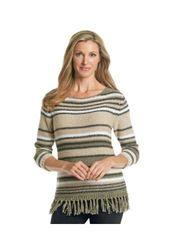 Ruby Rd. Women's Stripe Tape Yarn Pull Over Sweater - Tan/Multi