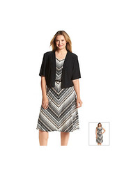 R&M Richards Women's Plus Size Chevron Printed Jacket Dress - Black