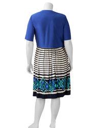 R&M Richards 2-pc Plus-size Mixed Print Jacket & Dress Set - Royal Blue