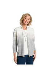 Alfred Dunner Women's Ombre Stripe Layered Sweater - Silver - Size: Small
