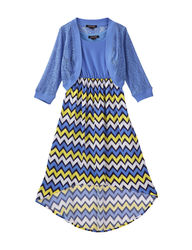 My Michelle Girls 2Pc Chevron Dress Set - Periwinkle - Size: 12/7-16