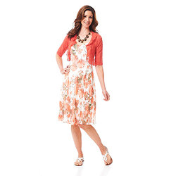 Connected Apparel Women's Large Floral Jacket Dress - Coral - Size: 12