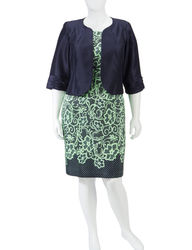 Dana Kay Women's Shantung Lace Print Jacket Dress - Blue - Size: Plus-size