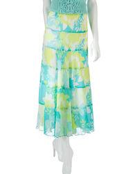 Ruby Rd. Women's Sweet & Chic Seafoam Floral Print Skirt - Green/Lime -18