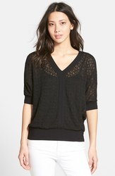 Chaus Women's Dolman Sleeve Crochet Top - Black - Size: Small