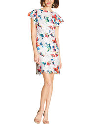 Sharagano Women's Floral Print Lace Cutout Dress - White/Multi - Size: S