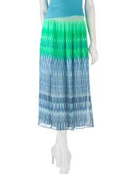 Ruby Rd. Womn's St. Lucia Ikat Print Skirt - Blue/Green - 14