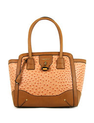 London Fog Women's Lark Faux Ostrich Tote Bag - Orange