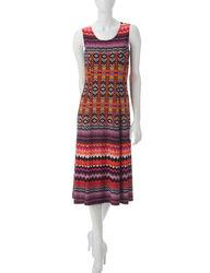 Danny & Nicole 2-pc Women's Zigzag Print Jacket & Dress Set - Fuchsia / XL
