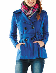 Rampage Women's Ivory Double Breasted Tie Waist Peacoat - Blue - Size: Medium