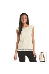 Chaus Women's Open Lace Blouse - Ivory - Size: XL