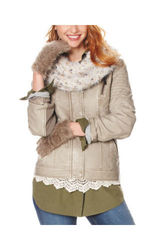 Signature Studio Women's Faux Fur Collar Jacket - Grey - Size: Small