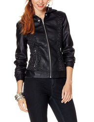 Signature Studio Women's Hooded Knit Motto Jacket - Black -Size: Large