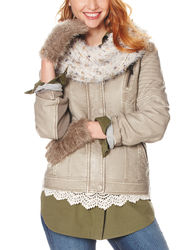 Signature Studio Women's Faux Fur Collar Jacket - Grey - Size: Large
