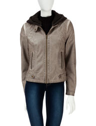Signature Studio Women's Hooded Motto Jacket - Taupe - Size: M
