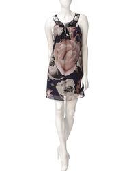Robbie Bee Women's Sequin Neck Chiffon Shift Dress - Multi - Size: 8