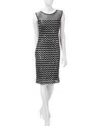 R&M Richards Women's Chevron Knit Shift Dress - Black / Silver -Size: 6