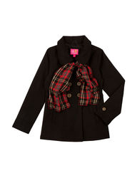 Pink Platinum Girls Double Breasted Wool Coat - Black - Sz: 7