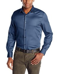 Axist Men's Solid Polished Twill Long Sleeve Woven Shirt - Blue - Size: L