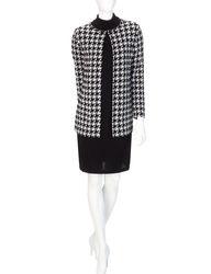 Lennie Women's 2-Piece Houndstooth Cardigan Dress - Black/White - Size: L