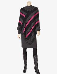 Lennie Women's 2Pc Striped Poncho Over Dress Set - Black/Ivory - Sz: S