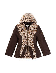 Amy Byer Girl's Puffer with Print Faux Fur Jackets - Tan - Size: 10-12 M