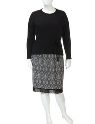 Lennie 2-Pc Diamond Print Fringe Skirt & Top Set - Black / White - Sz: 1