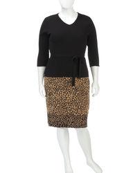 Lennie Women's 2-Pc Animal Print Skirt & Top Set - Tan/Black - Size: 1X