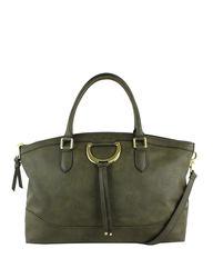 London Fog Women's Bensen Faux Suede Satchel Handbag - Olive