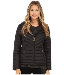 Michael Kors Women's Short Zip Packable Down Coat - Black/Purple - Sz: One
