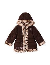 Pistachio Toddler Girls Faux Suede with Fur Trim Coat - Brown - Size: 3T