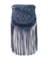 Signature Studio Women's Fringe Stud Saddle Crossbody Handbag - Blue