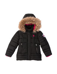 U.S. Polo Assn. Toddler Fur Trim Puffer Jacket - Black - Size: 4
