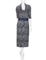Robbie Bee Women's Space Dye Long Dress - Blue - Size: Small
