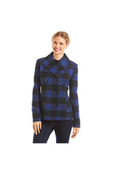 Papijam Women's Rampage Plaid Basic Peacoat Coat - Black/White - Size: XL