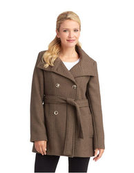 Calvin Klein Women's Basketweave Trench Coat - Brown - Size: Small