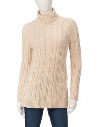Jeanne Pierre Women's Fisherman Tunic Sweater - Light Beige - Size: Large