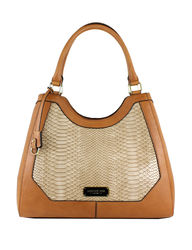 London Fog Women's Avery Faux Snake Four Poster Tote Handbag - Taupe