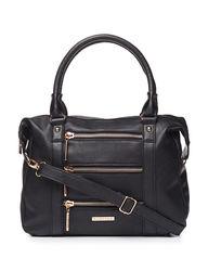 Rampage Women's Zipper Accent Satchel Handbag - Navy