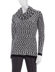 Calvin Klein Women's Marled Knit Sweater - Black Multi - Size: Medium