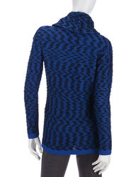 Calvin Klein Women's Marled Knit Sweater - Blue Multi - Size: Large
