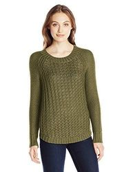 Calvin Klein Women's Core Texture Mixed Crew Sweater -Olive Night -Size:Xl